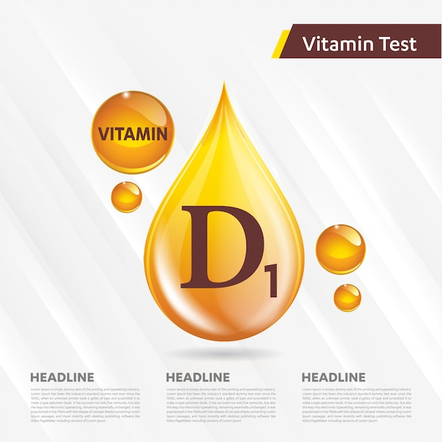 Vitamin d1-symbolsammlung goldener tropfen der vektorillustration Premium Vektoren