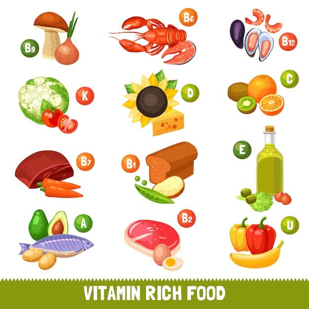 Vitaminreiche nahrungsmittel Kostenlosen Vektoren