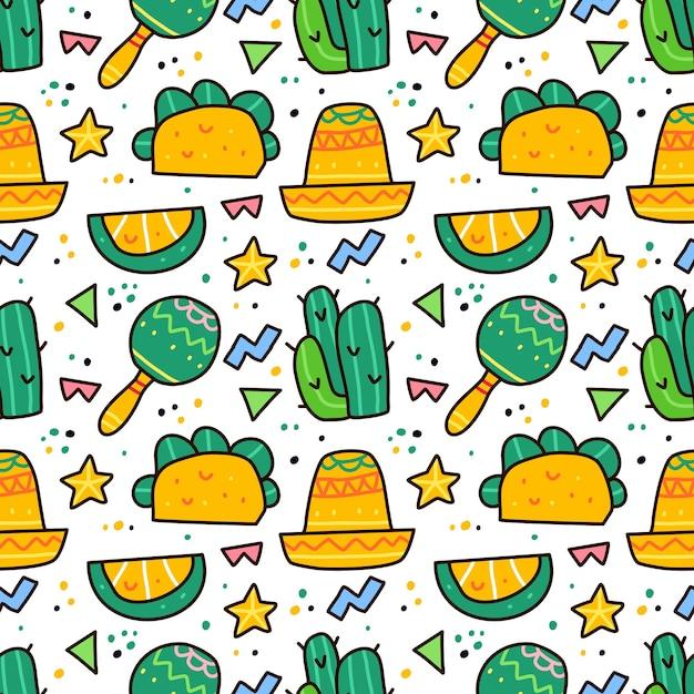 Viva mexiko im nahtlosen muster des gekritzelstils Premium Vektoren