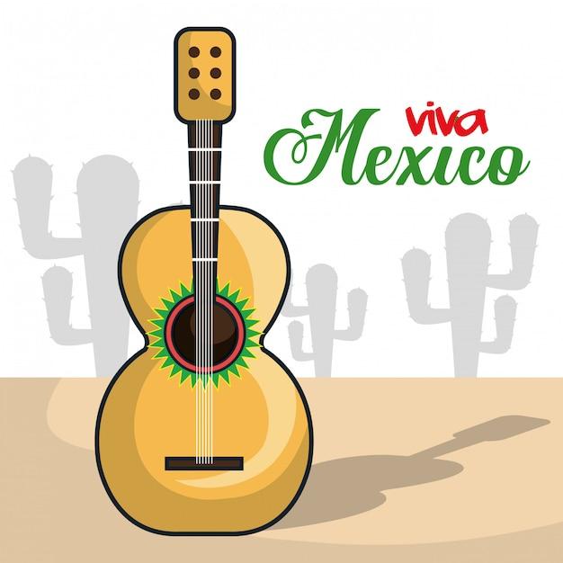 Viva mexiko instrument musikalisch isoliert poster Premium Vektoren