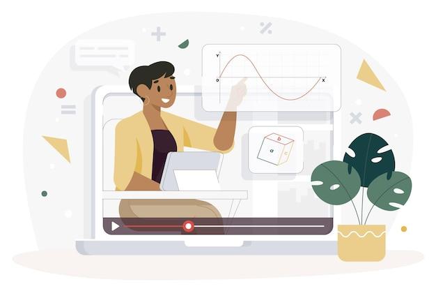 Vlogger auf social media illustration Kostenlosen Vektoren