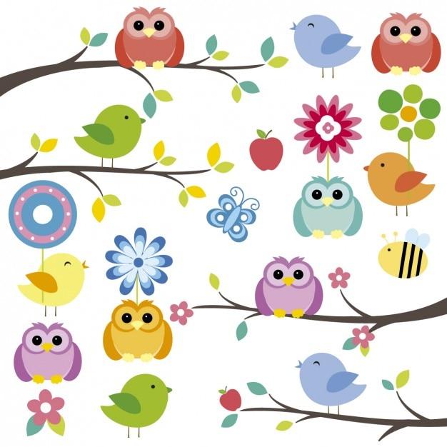 Vögel auf zweige mit blüten Kostenlosen Vektoren
