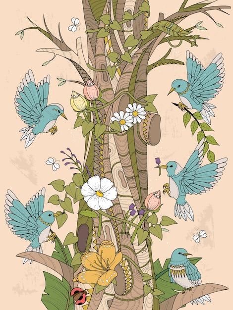 Vögel mit floralen elementen erwachsenen malvorlagen Premium Vektoren