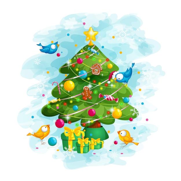 Vögel schmücken den weihnachtsbaum Premium Vektoren