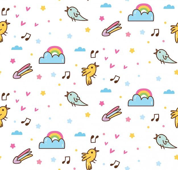 Vögel singen im himmel kawaii muster Premium Vektoren