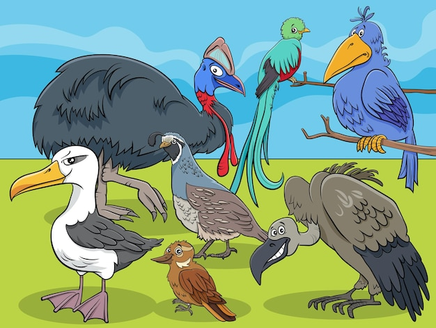 Vögel tierfiguren gruppe cartoon Premium Vektoren