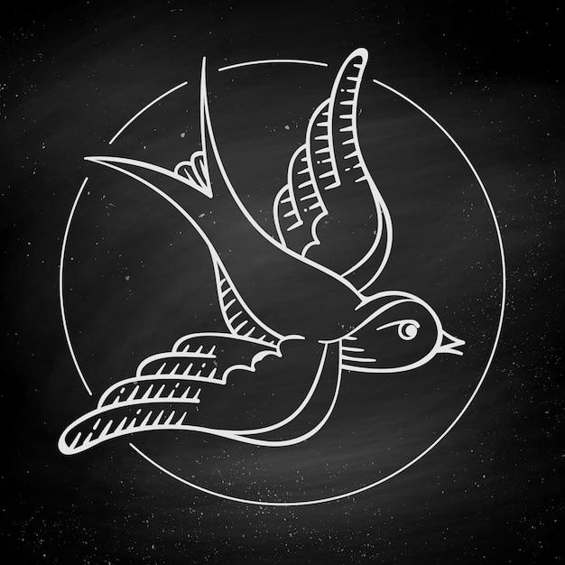 Vogel auf schwarzer tafel Premium Vektoren