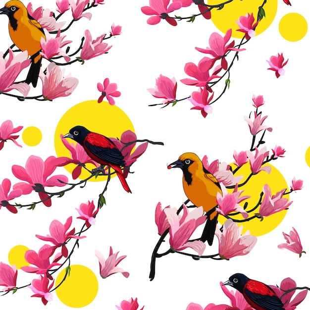 Vogel blume vektor farbvorlage Premium Vektoren