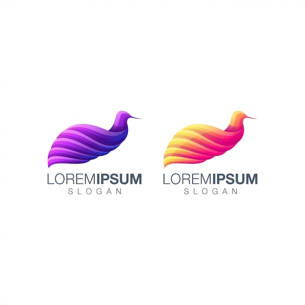 Vogel farbverlauf logo festgelegt Premium Vektoren