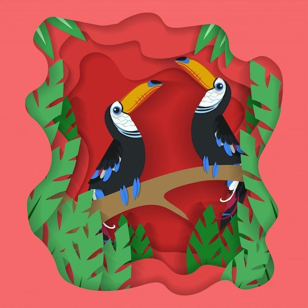 Vogel illustration papier geschnitten hintergrund Premium Vektoren