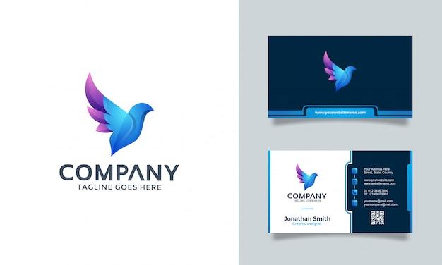 Vogel logo design mit visitenkarte Premium Vektoren