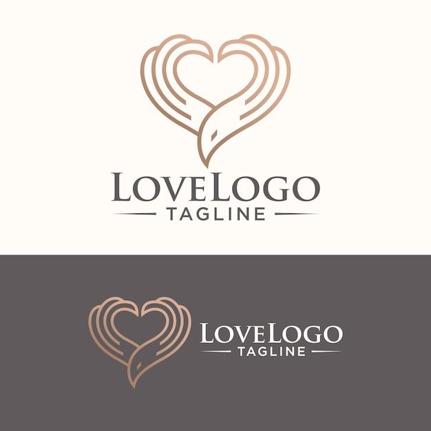 Vogel logo heart symbol vector stock Premium Vektoren