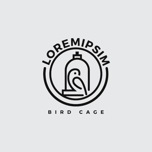 Vogel-logo mit linie kunststil. Premium Vektoren