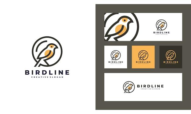 Vogel minimalistische kreative einfache logo-design-vorlage Premium Vektoren