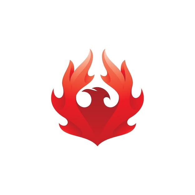 Vogel-phönix mit feuerflügel-logo Premium Vektoren