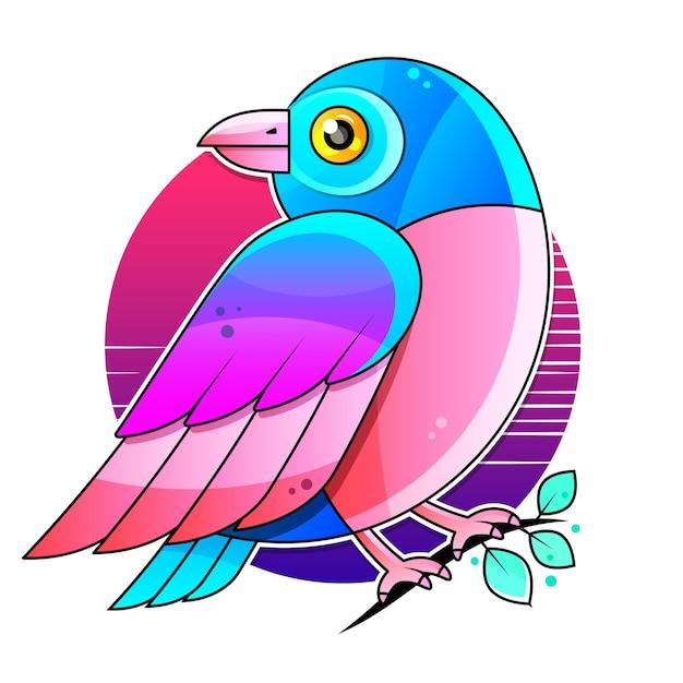 Vogel stock illustration auf einem weißen hintergrund. dekoration, logo. Premium Vektoren