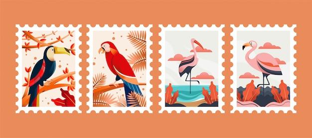 Vogel tier briefmarken illustration Premium Vektoren