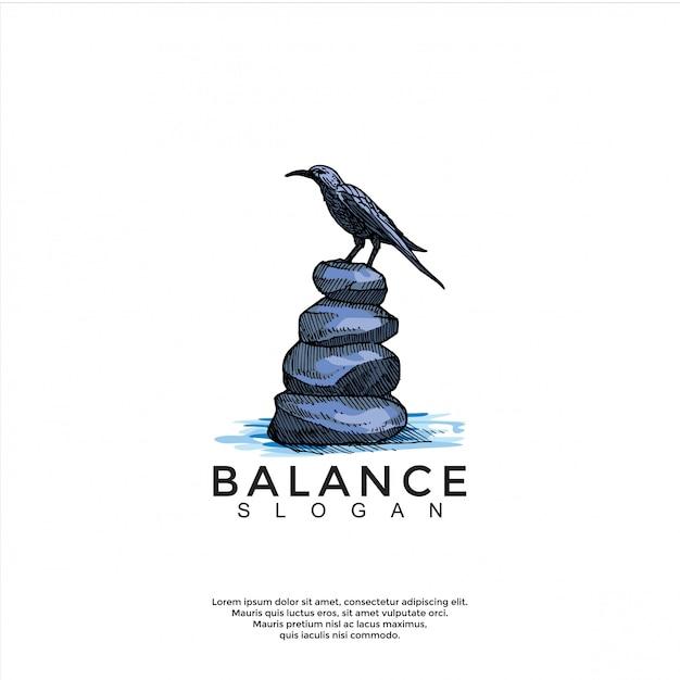 Vogel über balance stein logo vorlage Premium Vektoren