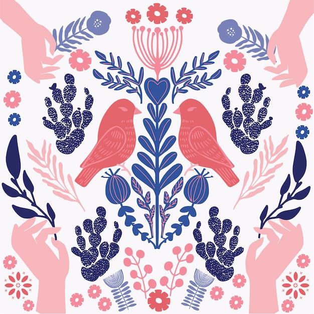 Vogel und hände illustration Premium Vektoren