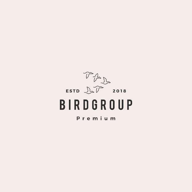 Vogelgruppenkolonienlogo-vektorikonenillustration Premium Vektoren