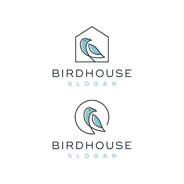 Vogelhaus-logo eingestellt Premium Vektoren