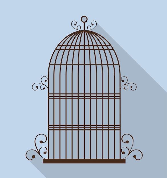 Vogelkäfig-symbol. Premium Vektoren