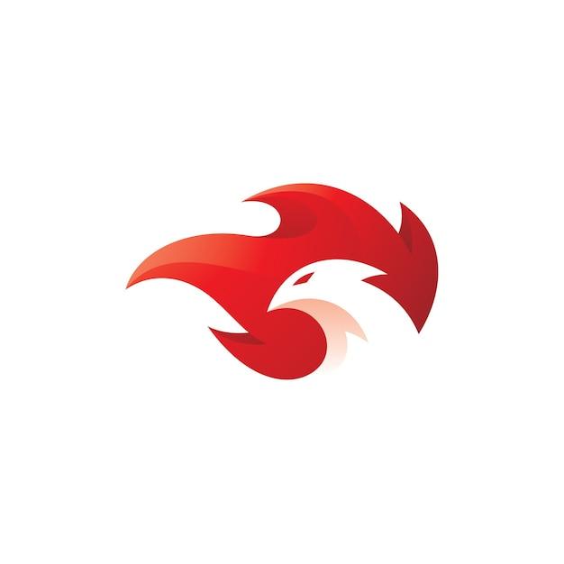 Vogelkopf und feuerflamme phoenix logo Premium Vektoren