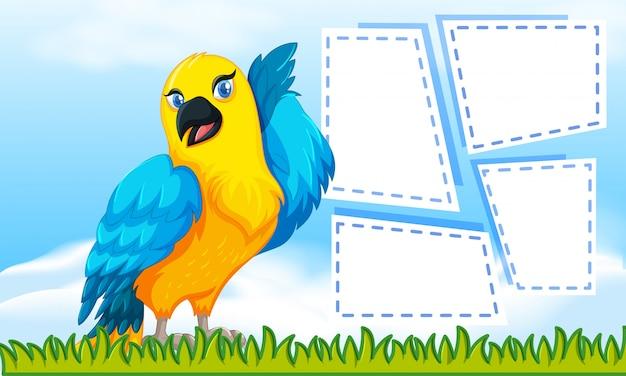 Vogelmotivnotiz zum schreiben Kostenlosen Vektoren