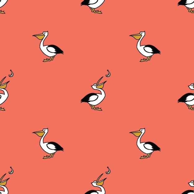 Vogelsammlung pelikan nahtlose muster rosa hintergrund Kostenlosen Vektoren
