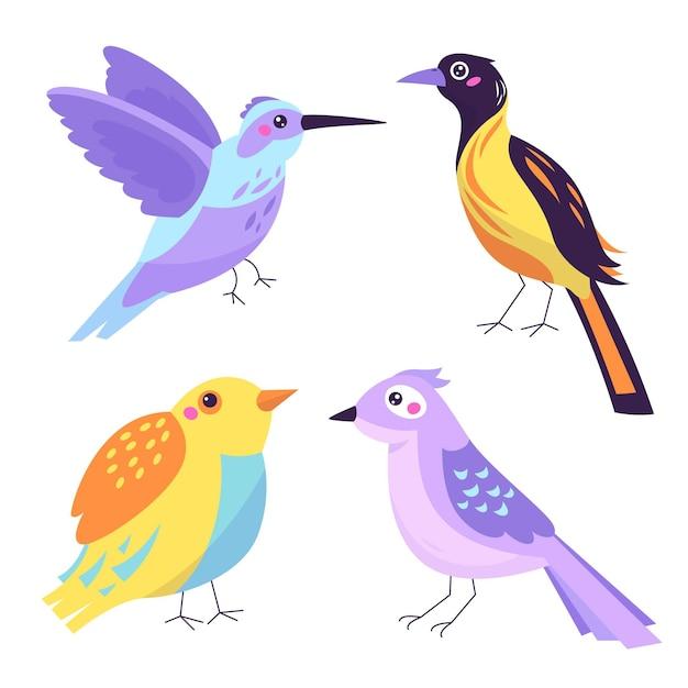 Vogelsammlung ziehen Kostenlosen Vektoren