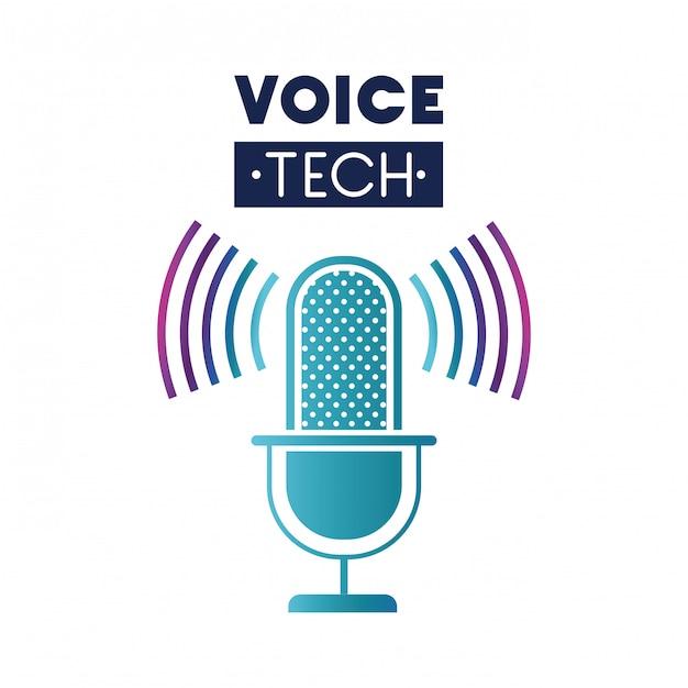 Voice-tech-label mit mikrofon und schallwelle Premium Vektoren