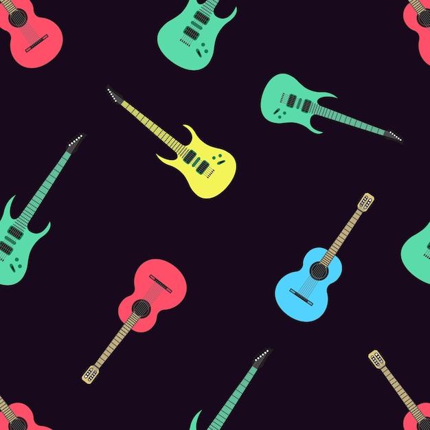 Voll editierbar vektor-illustration nahtlose muster isoliert gitarren Premium Vektoren
