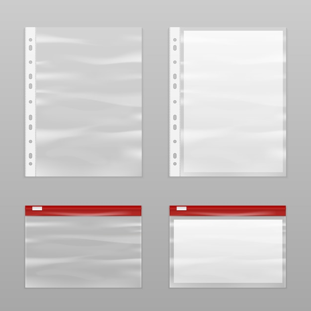 Volles papier und leere plastiktüten icon set Kostenlosen Vektoren