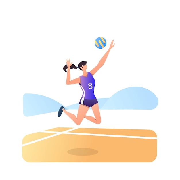 Volley-athlet auf weiß isoliert Premium Vektoren