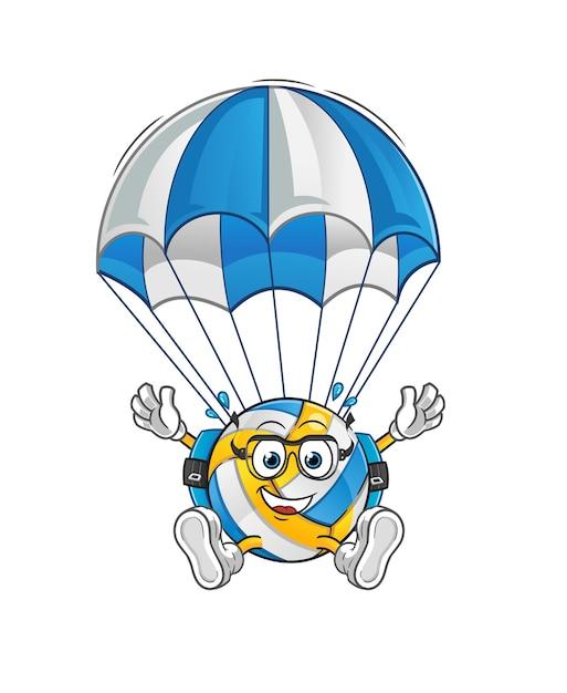 Volleyball fallschirmspringen charakter. cartoon maskottchen Premium Vektoren