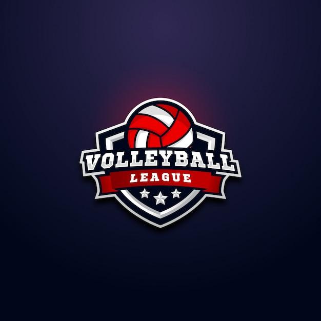 Volleyball league logo abzeichen Premium Vektoren