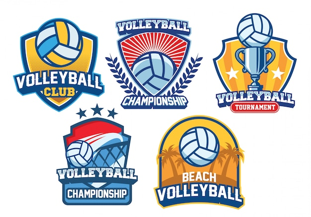 Volleyball-logo-design-set Premium Vektoren