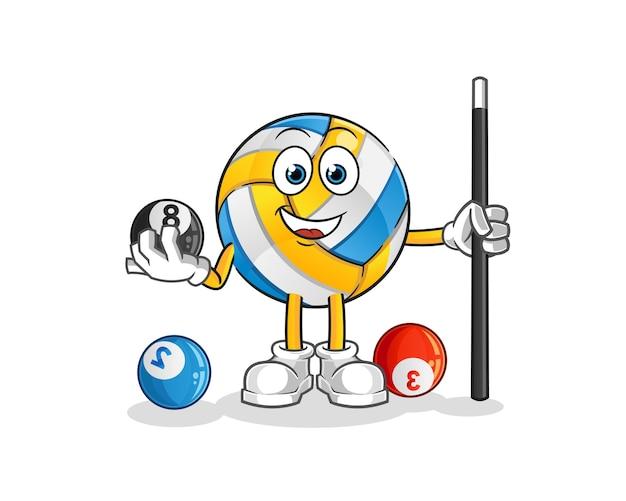 Volleyball spielt billardcharakter. cartoon maskottchen Premium Vektoren