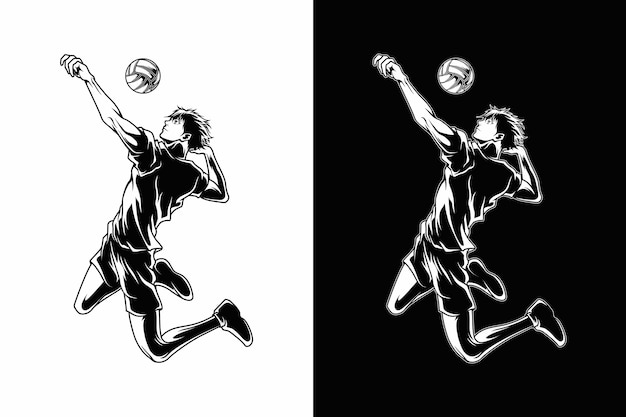 Volleyball sport illustration Premium Vektoren