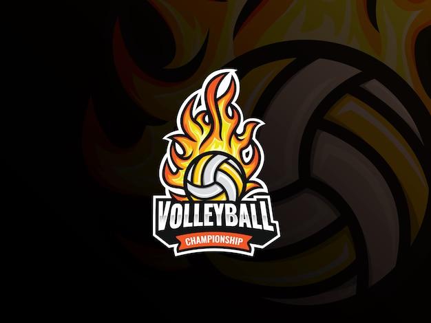 Volleyball sport logo design. flammender volleyballballvektorabzeichen. volleyball mit feuervektorillustration Premium Vektoren