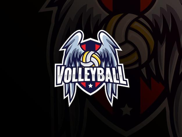 Volleyball sport logo design. volleyball logo club zeichen abzeichen vektor-illustration. volleyball mit flügeln und schild Premium Vektoren