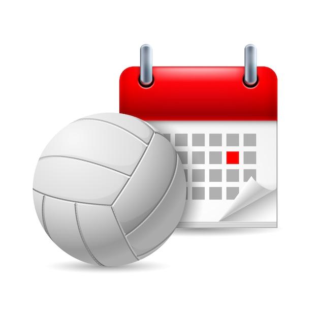 Volleyball und kalender Premium Vektoren