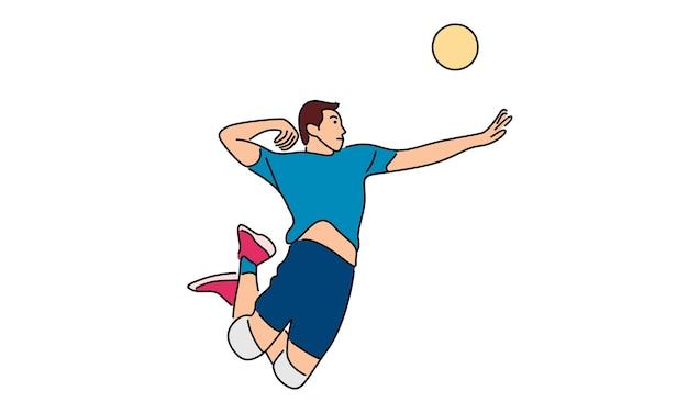 Volleyballspieler, der den ball dient Premium Vektoren