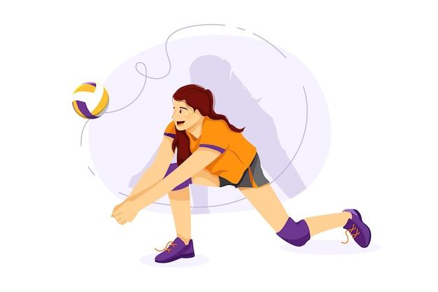 Volleyballspieler, die volleyball im boden spielen Premium Vektoren