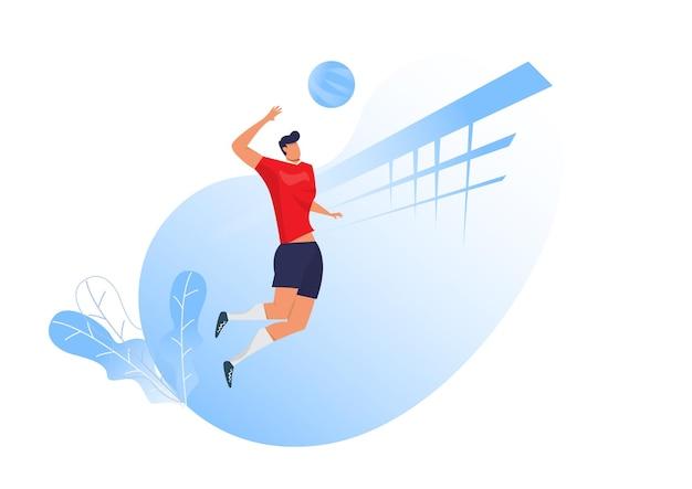 Volleyballspieler mann, der servierball springt Premium Vektoren