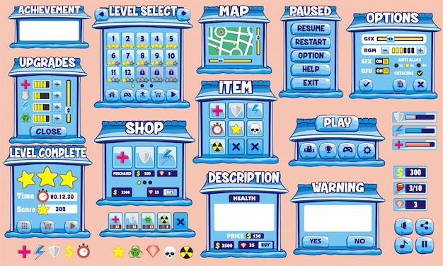 Vollständiger satz einer grafischen benutzeroberfläche (gui) zum erstellen von 2d-spielen und -anwendungen Premium Vektoren