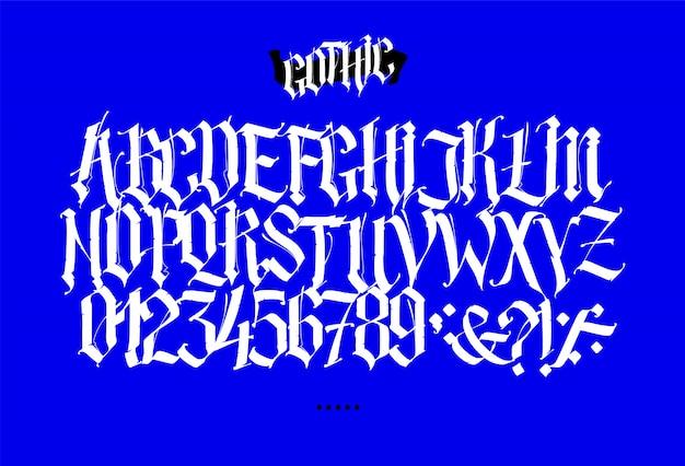 Vollständiges lateinisches alphabet im gotischen stil. Premium Vektoren