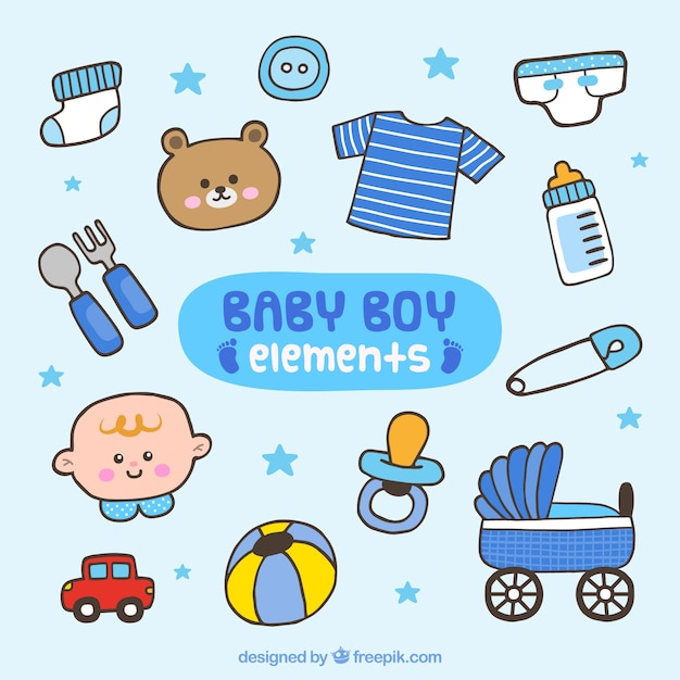 Von hand gezeichnet baby, elemente Kostenlosen Vektoren