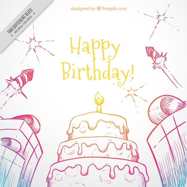 Von Hand Gezeichnet Geburtstag Hintergrund Mit Kuchen Und