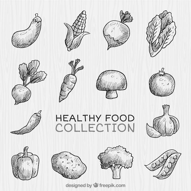 Von hand gezeichnet gesundes gemüse sammlung Kostenlosen Vektoren